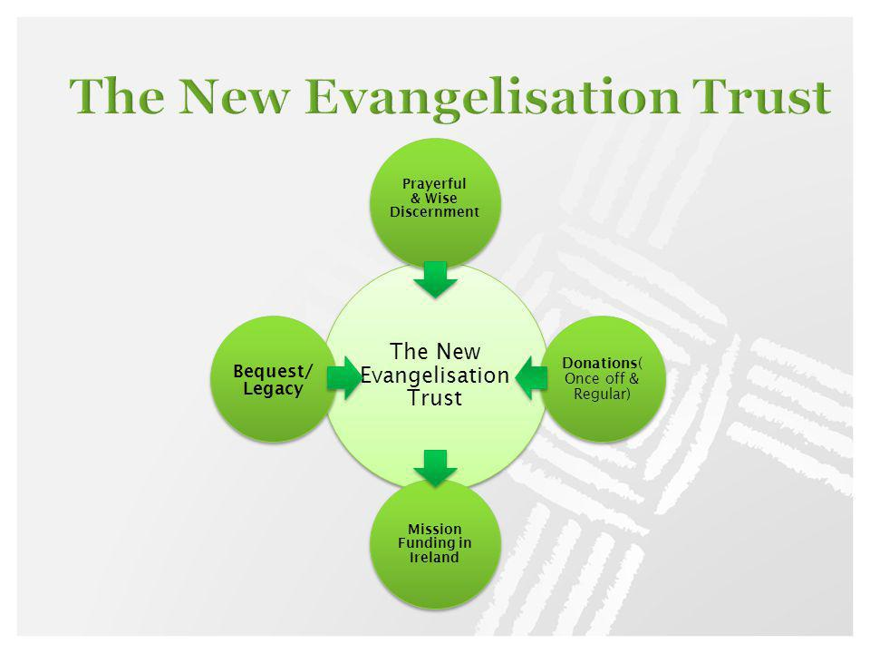 The New Evangelisation Trust Prayerful & Wise Discernment Donations( Once off & Regular) Mission Funding in Ireland Bequest/ Legacy