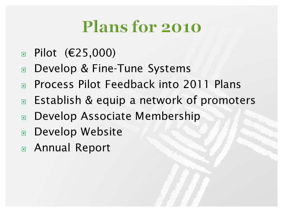 Pilot (25,000) Develop & Fine-Tune Systems Process Pilot Feedback into 2011 Plans Establish & equip a network of promoters Develop Associate Membershi