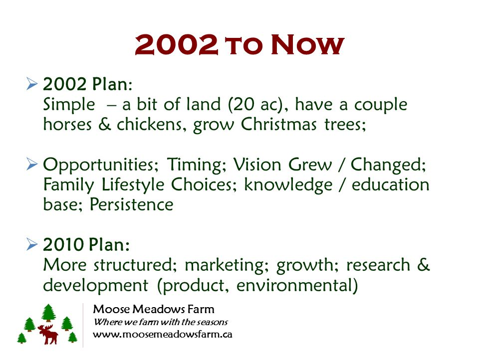 2002 to Now 2002 Plan: Simple – a bit of land (20 ac), have a couple horses & chickens, grow Christmas trees; Opportunities; Timing; Vision Grew / Cha