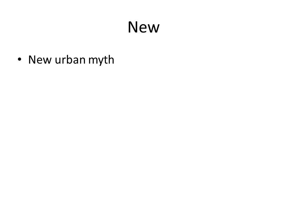 New New urban myth