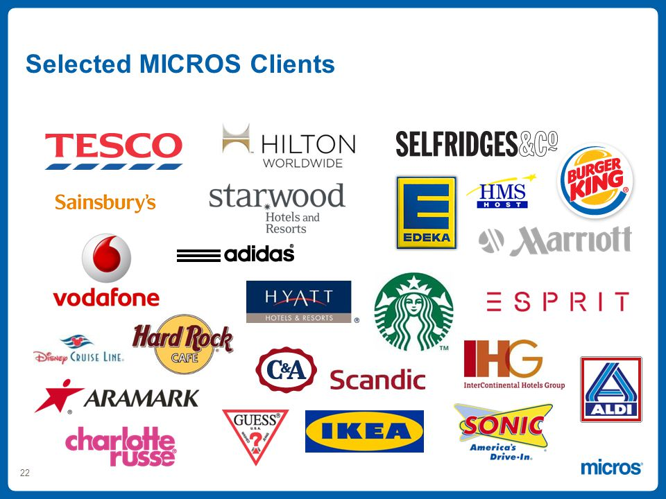22 Selected MICROS Clients