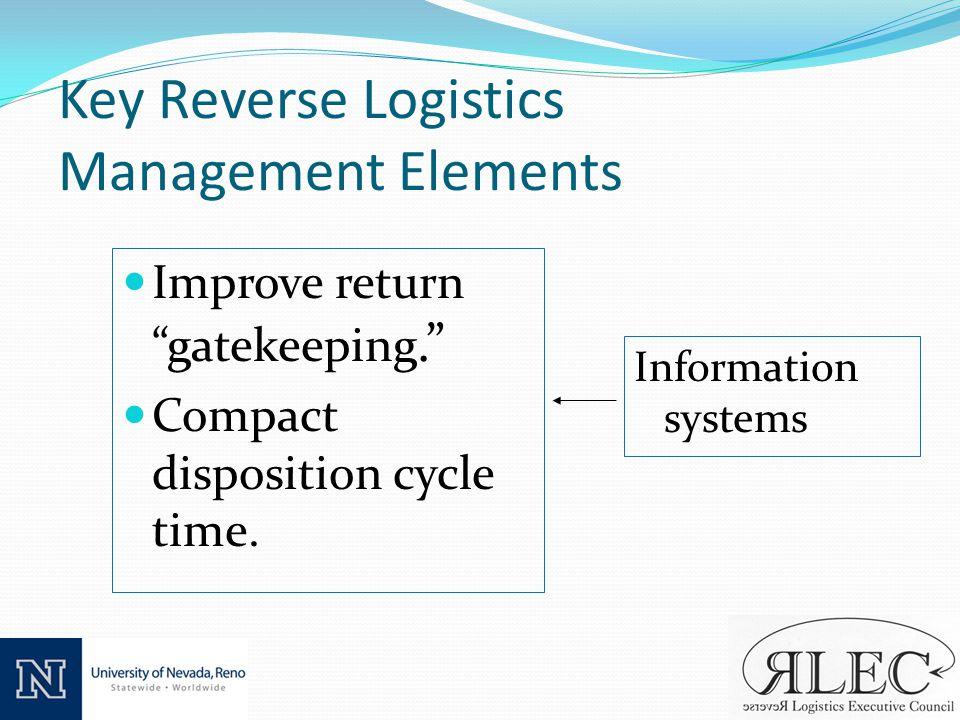 Key Reverse Logistics Management Elements Improve return gatekeeping.