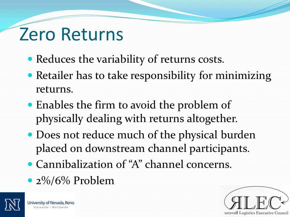 Zero Returns Reduces the variability of returns costs.