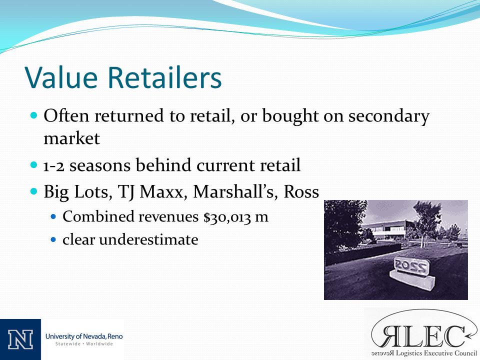 Value Retailers Often returned to retail, or bought on secondary market 1-2 seasons behind current retail Big Lots, TJ Maxx, Marshalls, Ross Combined revenues $30,013 m clear underestimate