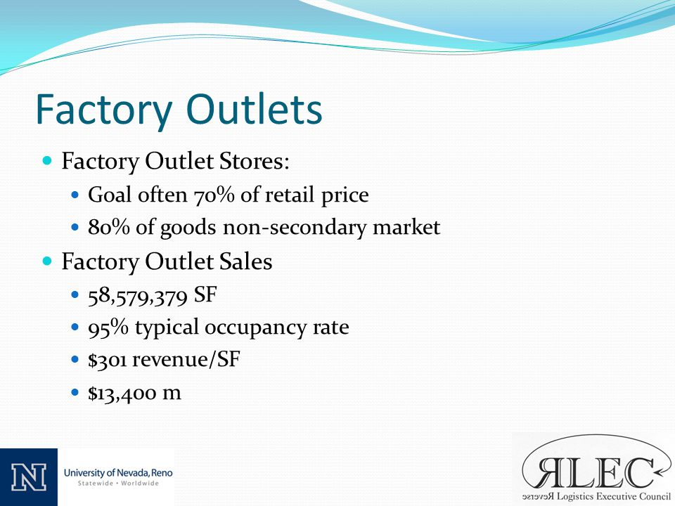 Factory Outlets Factory Outlet Stores: Goal often 70% of retail price 80% of goods non-secondary market Factory Outlet Sales 58,579,379 SF 95% typical occupancy rate $301 revenue/SF $13,400 m