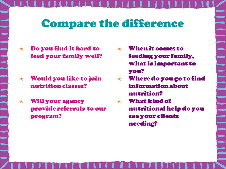 Compare the difference Do you find it hard to feed your family well? Would you like to join nutrition classes? Will your agency provide referrals to o