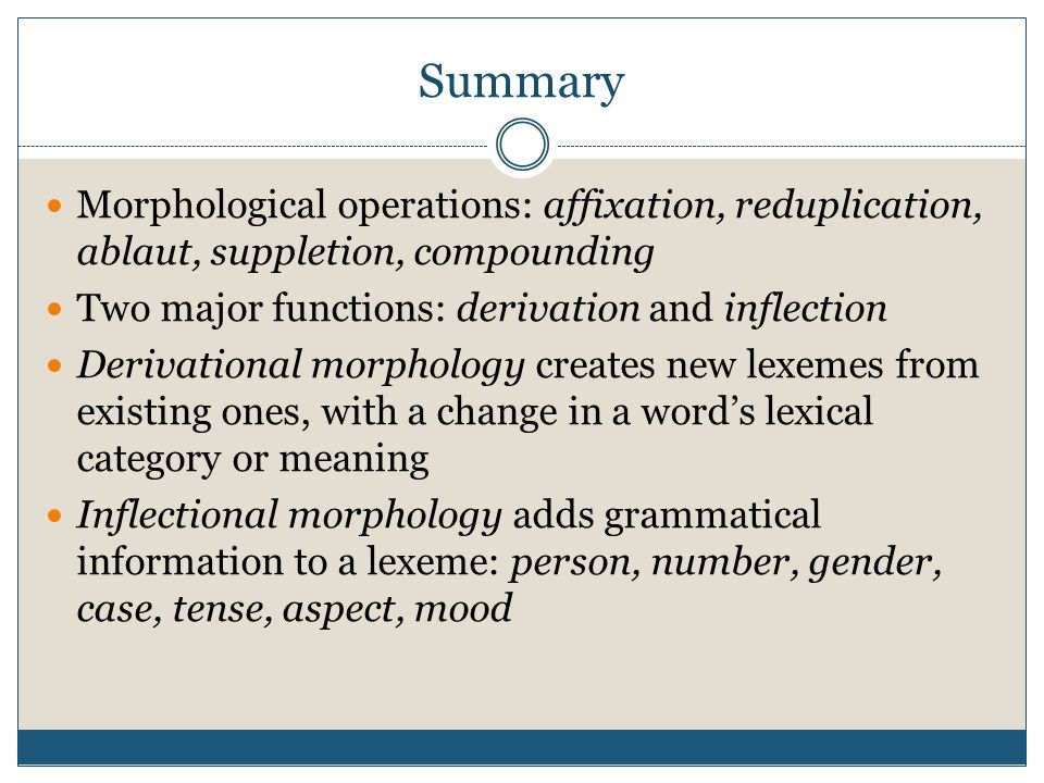 Summary Morphological operations: affixation, reduplication, ablaut, suppletion, compounding Two major functions: derivation and inflection Derivation