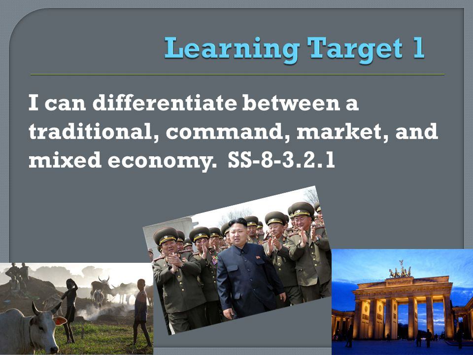 I can differentiate between a traditional, command, market, and mixed economy. SS-8-3.2.1