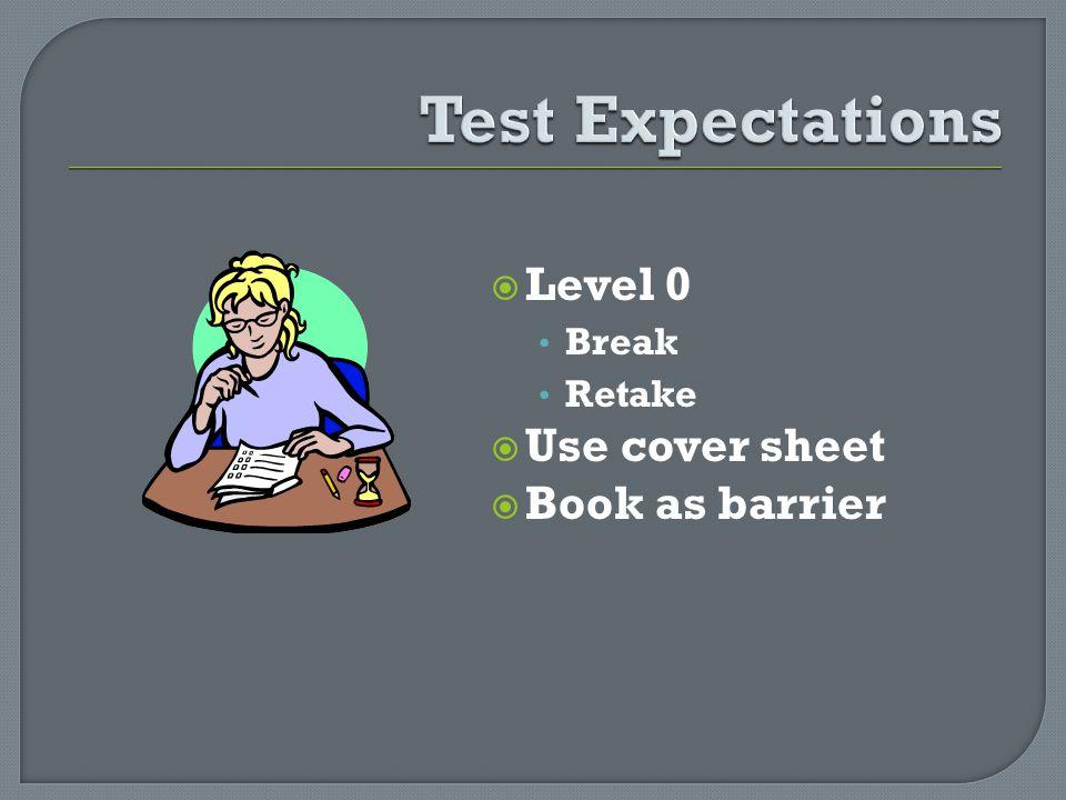 Level 0 Break Retake Use cover sheet Book as barrier