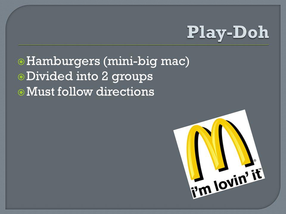 Hamburgers (mini-big mac) Divided into 2 groups Must follow directions