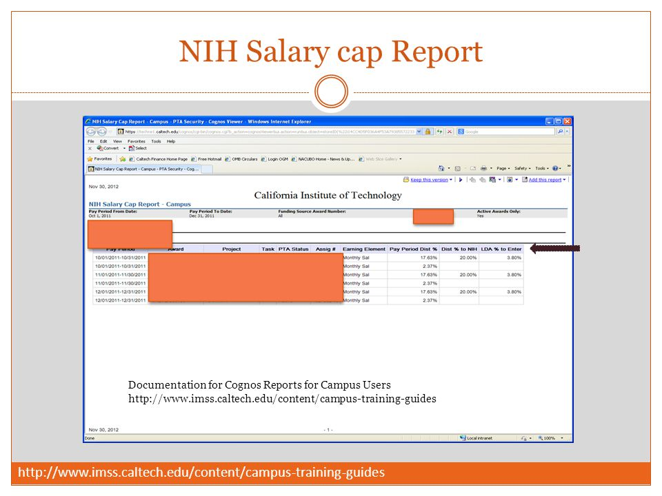 NIH Salary cap Report Documentation for Cognos Reports for Campus Users http://www.imss.caltech.edu/content/campus-training-guides