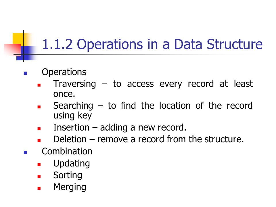 1.1.2 Operations in a Data Structure Operations Traversing – to access every record at least once. Searching – to find the location of the record usin