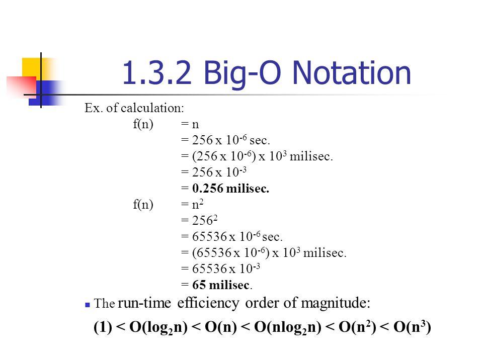 1.3.2 Big-O Notation Ex. of calculation: f(n) = n = 256 x 10 -6 sec. = (256 x 10 -6 ) x 10 3 milisec. = 256 x 10 -3 = 0.256 milisec. f(n)= n 2 = 256 2