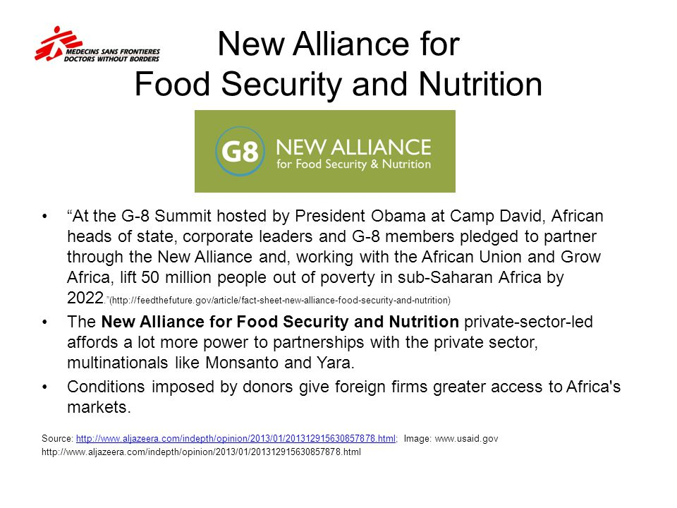 New Alliance for Food Security and Nutrition At the G-8 Summit hosted by President Obama at Camp David, African heads of state, corporate leaders and
