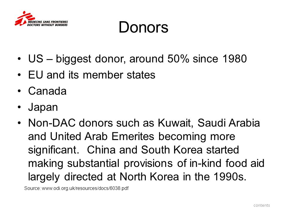 Donors US – biggest donor, around 50% since 1980 EU and its member states Canada Japan Non-DAC donors such as Kuwait, Saudi Arabia and United Arab Emerites becoming more significant.