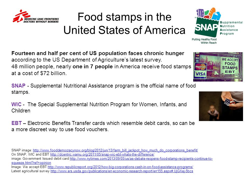 Food stamps in the United States of America SNAP image: http://www.fooddemocracynow.org/blog/2012/jun/13/farm_bill_jackpot_how_much_do_corporations_benefit/http://www.fooddemocracynow.org/blog/2012/jun/13/farm_bill_jackpot_how_much_do_corporations_benefit/ On SNAP, WIC and EBT http://dcentric.wamu.org/2011/05/snap-wic-ebt-whats-the-difference/http://dcentric.wamu.org/2011/05/snap-wic-ebt-whats-the-difference/ I mage: Government Issued debit card http://www.nytimes.com/2013/09/05/us/as-debate-reopens-food-stamp-recipients-continue-to- squeeze.html?ref=opinionhttp://www.nytimes.com/2013/09/05/us/as-debate-reopens-food-stamp-recipients-continue-to- squeeze.html?ref=opinion Image: We accept EBT http://www.republicreport.org/2012/how-big-corporations-cash-in-on-food-assistance-programs/http://www.republicreport.org/2012/how-big-corporations-cash-in-on-food-assistance-programs/ Latest agricultural survey http://www.ers.usda.gov/publications/err-economic-research-report/err155.aspx#.UjGXej-5bcshttp://www.ers.usda.gov/publications/err-economic-research-report/err155.aspx#.UjGXej-5bcs Fourteen and half per cent of US population faces chronic hunger according to the US Department of Agricultures latest survey.
