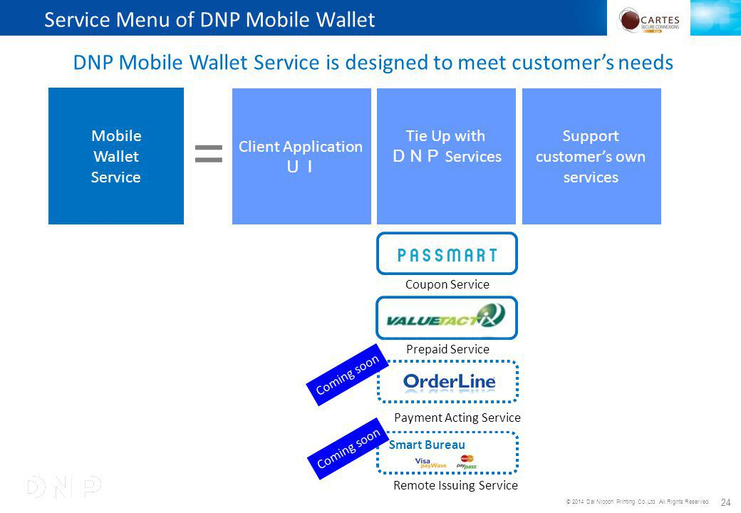 © 2014 Dai Nippon Printing Co.,Ltd. All Rights Reserved. 24 DNP Mobile Wallet Service is designed to meet customers needs Mobile Wallet Service Servic