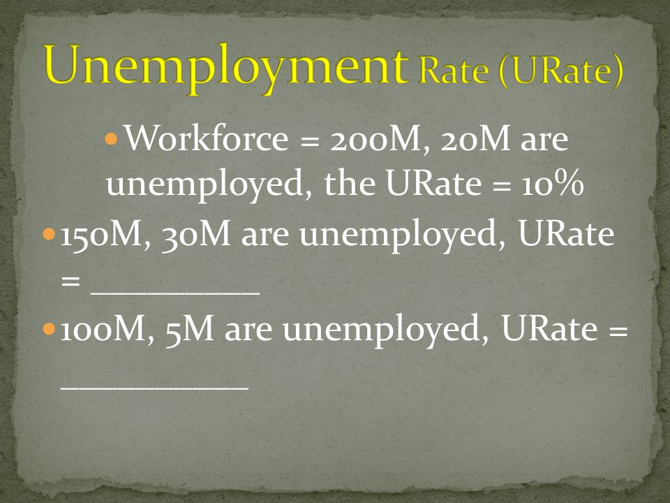 Workforce = 200M, 20M are unemployed, the URate = 10% 150M, 30M are unemployed, URate = _________ 100M, 5M are unemployed, URate = __________