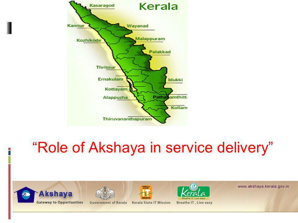 Role of Akshaya in service delivery