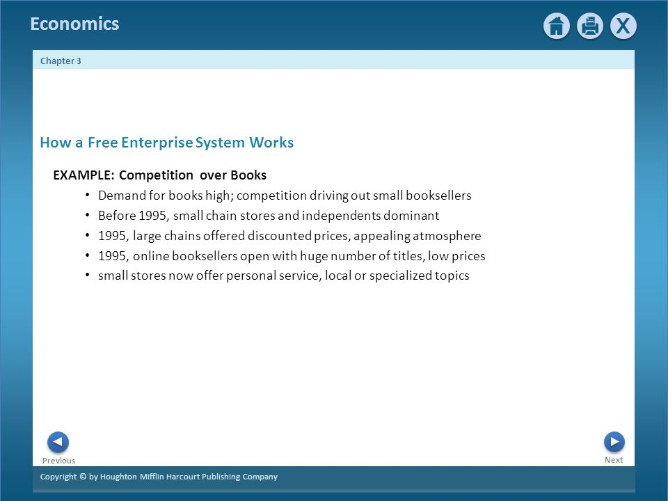 Copyright © by Houghton Mifflin Harcourt Publishing Company Next Previous Economics Chapter 3 EXAMPLE: Competition over Books Demand for books high; c