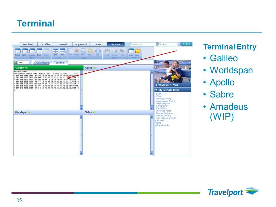 Terminal 35 Terminal Entry Galileo Worldspan Apollo Sabre Amadeus (WIP) 35 Travelport Company Confidential