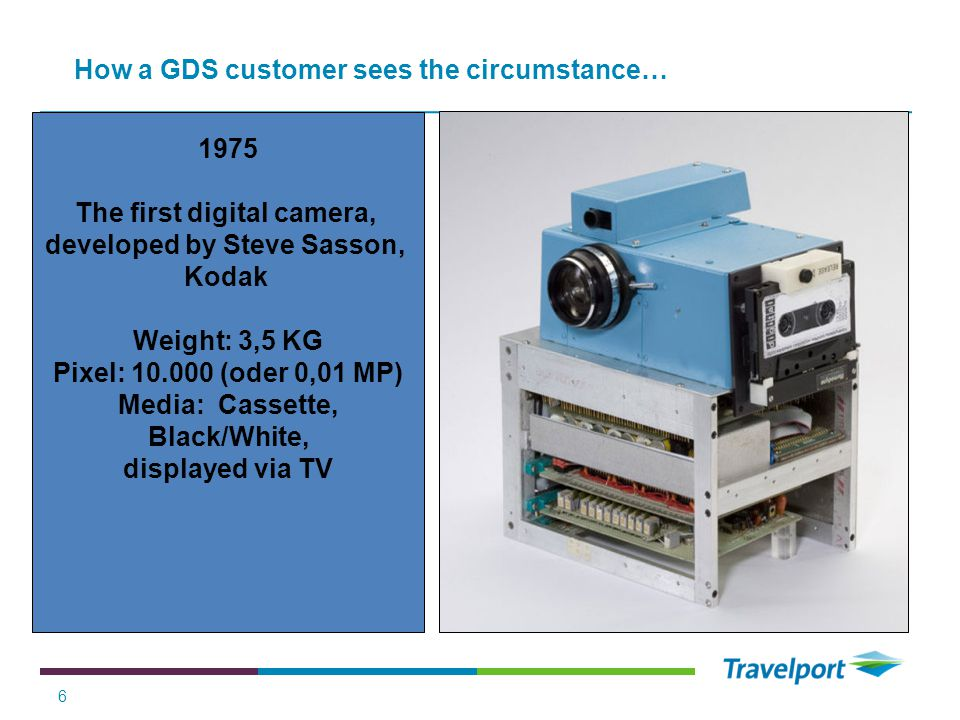 1975 The first digital camera, developed by Steve Sasson, Kodak Weight: 3,5 KG Pixel: 10.000 (oder 0,01 MP) Media: Cassette, Black/White, displayed via TV 6 How a GDS customer sees the circumstance…