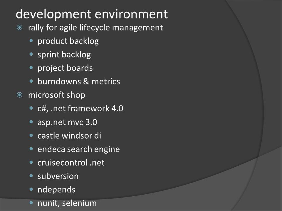 development environment rally for agile lifecycle management product backlog sprint backlog project boards burndowns & metrics microsoft shop c#,.net