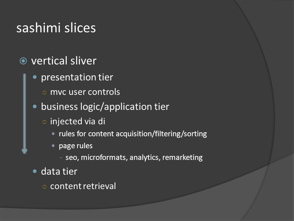 sashimi slices vertical sliver presentation tier mvc user controls business logic/application tier injected via di rules for content acquisition/filtering/sorting page rules - seo, microformats, analytics, remarketing data tier content retrieval