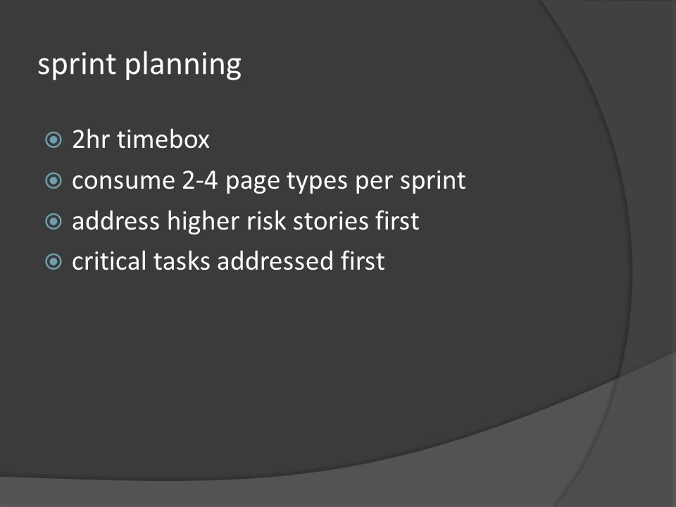 sprint planning 2hr timebox consume 2-4 page types per sprint address higher risk stories first critical tasks addressed first