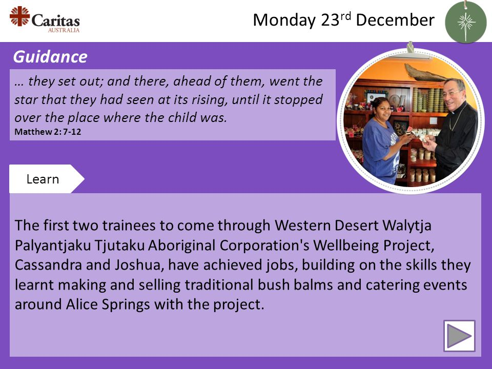 The first two trainees to come through Western Desert Walytja Palyantjaku Tjutaku Aboriginal Corporation s Wellbeing Project, Cassandra and Joshua, have achieved jobs, building on the skills they learnt making and selling traditional bush balms and catering events around Alice Springs with the project.