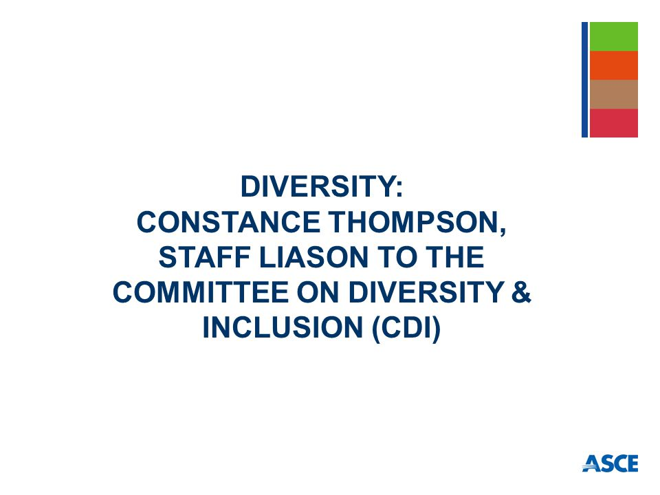 DIVERSITY: CONSTANCE THOMPSON, STAFF LIASON TO THE COMMITTEE ON DIVERSITY & INCLUSION (CDI)