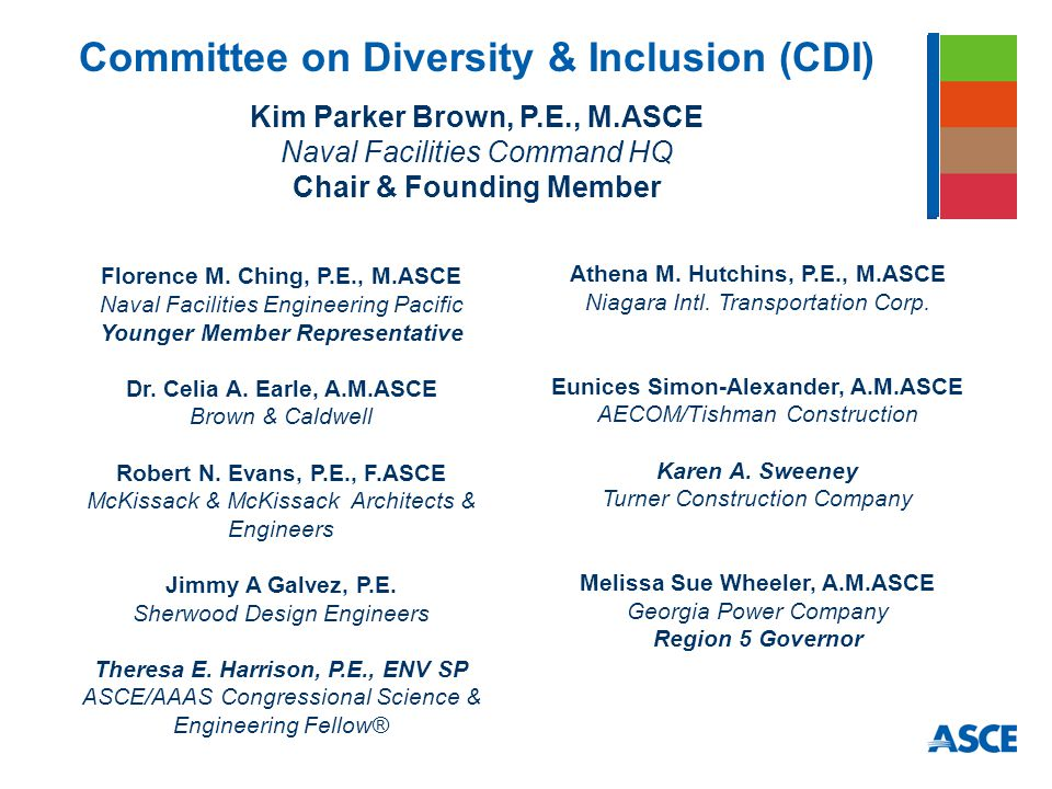 Committee on Diversity & Inclusion (CDI) Kim Parker Brown, P.E., M.ASCE Naval Facilities Command HQ Chair & Founding Member Florence M.