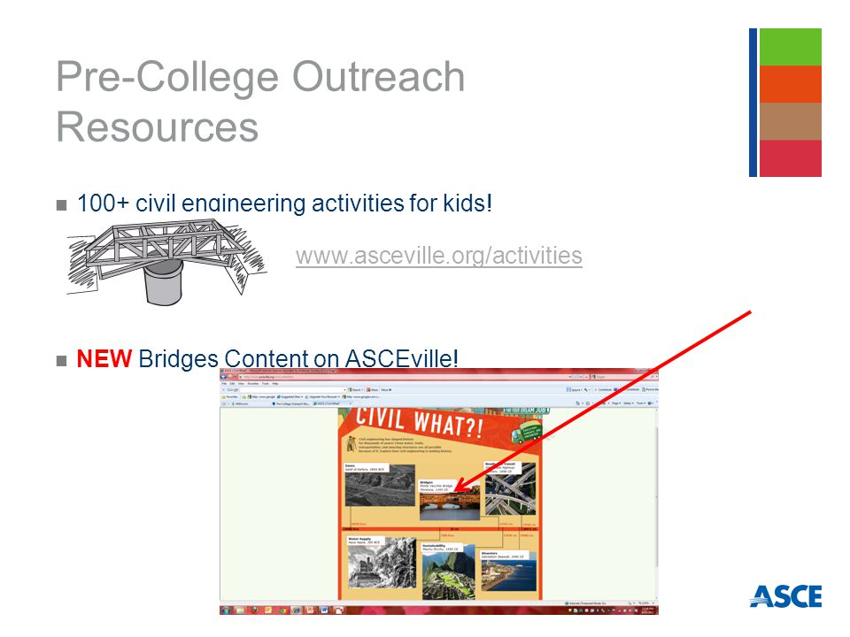 Pre-College Outreach Resources 100+ civil engineering activities for kids.