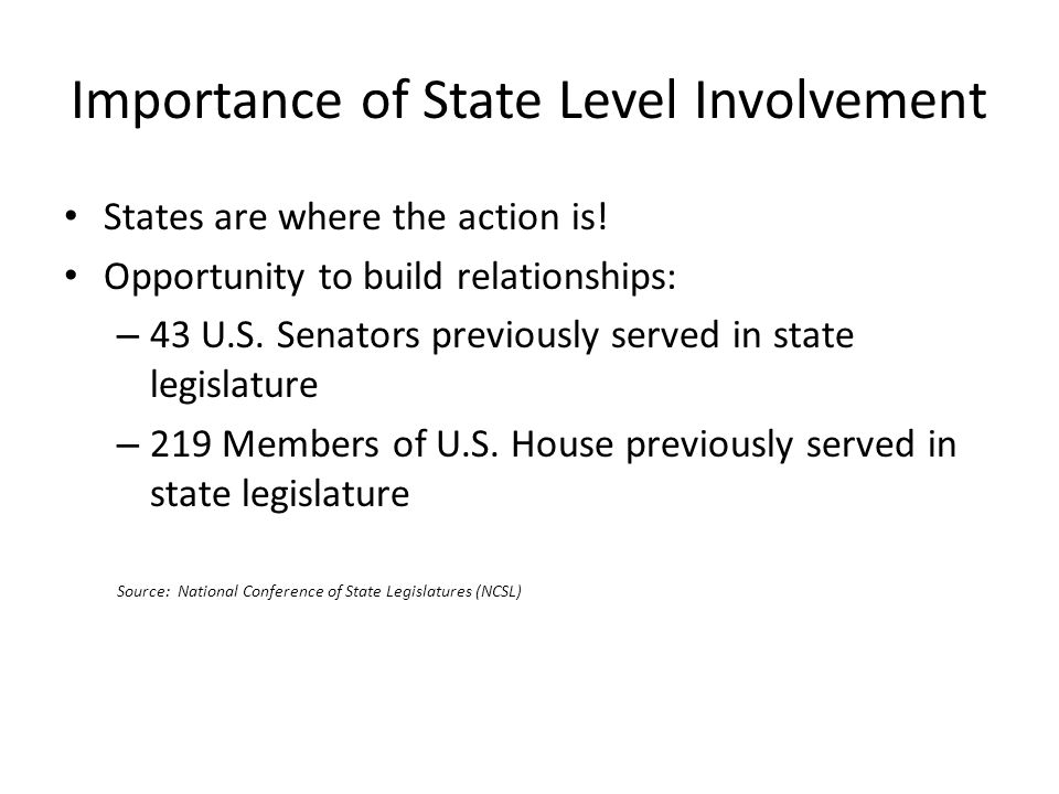 Importance of State Level Involvement States are where the action is.