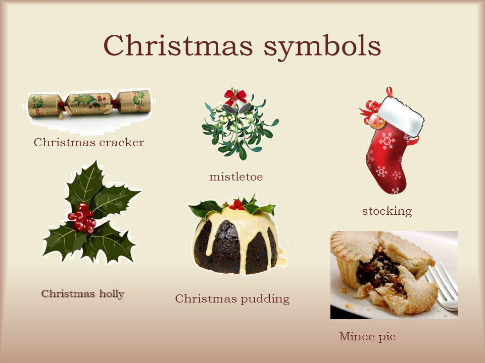 Christmas symbols Christmas cracker mistletoe stocking Christmas holly Christmas pudding Mince pie