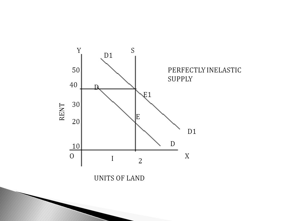 Y XO UNITS OF LAND RENT D1 D D S I 2 10 20 30 40 50PERFECTLY INELASTIC SUPPLY E1 E