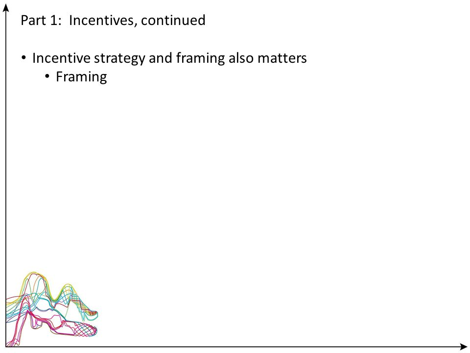 Part 1: Incentives, continued Incentive strategy and framing also matters Framing