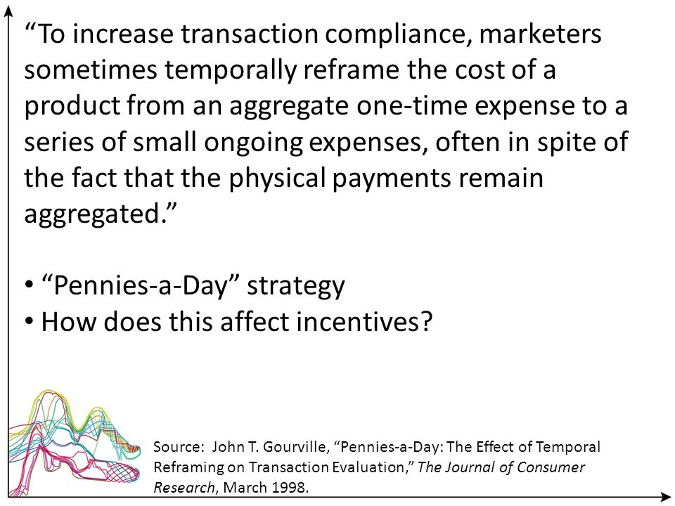 To increase transaction compliance, marketers sometimes temporally reframe the cost of a product from an aggregate one-time expense to a series of small ongoing expenses, often in spite of the fact that the physical payments remain aggregated.
