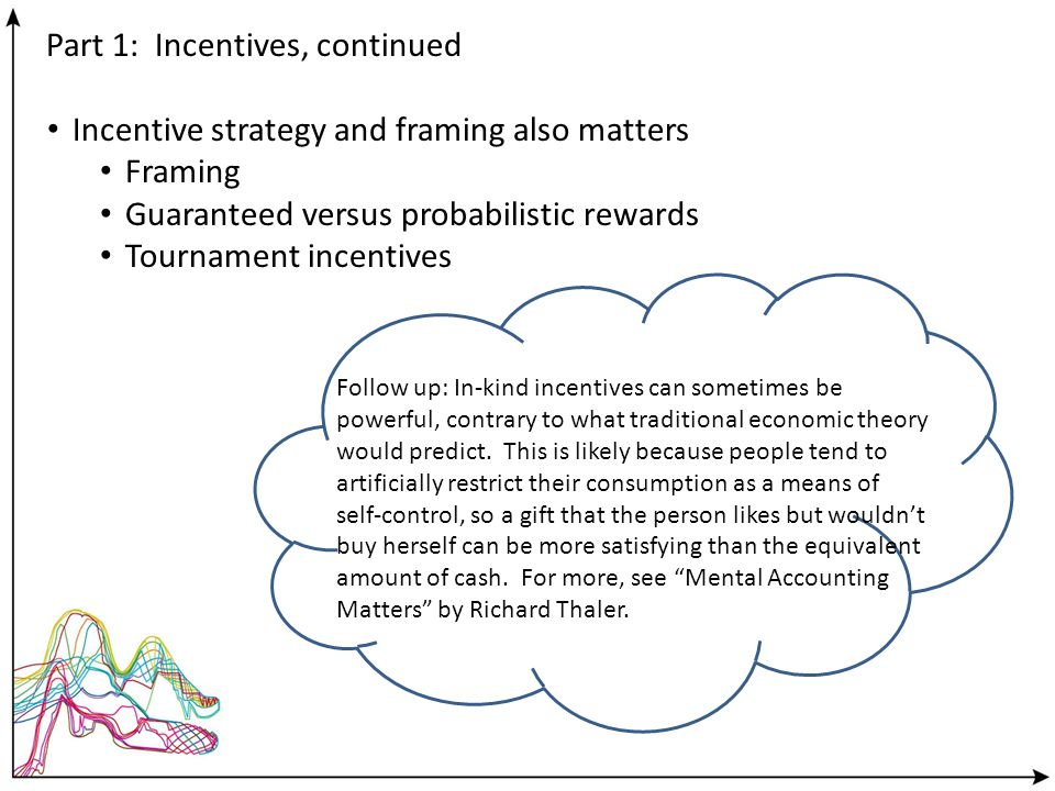 Part 1: Incentives, continued Incentive strategy and framing also matters Framing Guaranteed versus probabilistic rewards Tournament incentives Follow up: In-kind incentives can sometimes be powerful, contrary to what traditional economic theory would predict.
