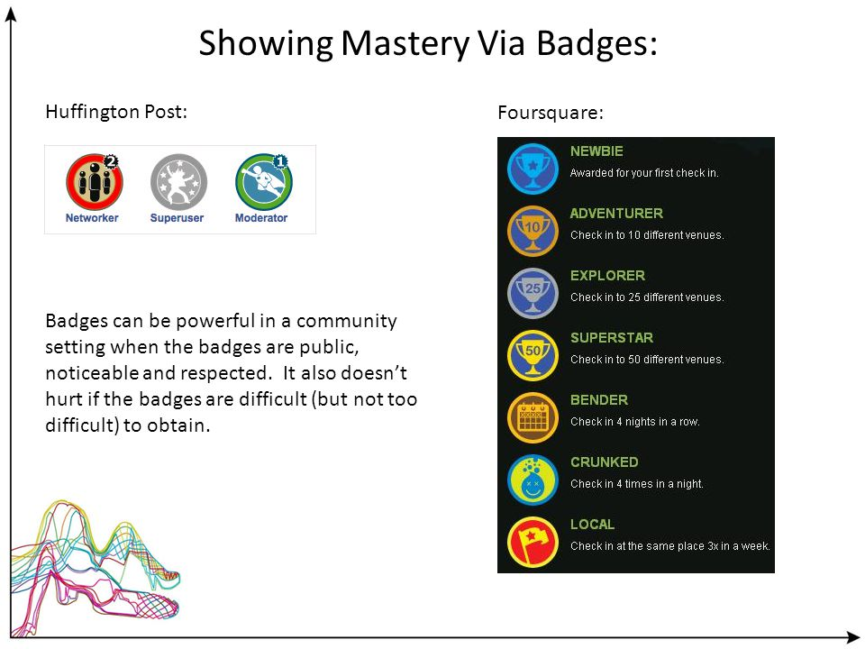 Huffington Post: Foursquare: Showing Mastery Via Badges: Badges can be powerful in a community setting when the badges are public, noticeable and respected.