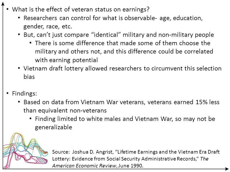 What is the effect of veteran status on earnings? Researchers can control for what is observable- age, education, gender, race, etc. But, cant just co