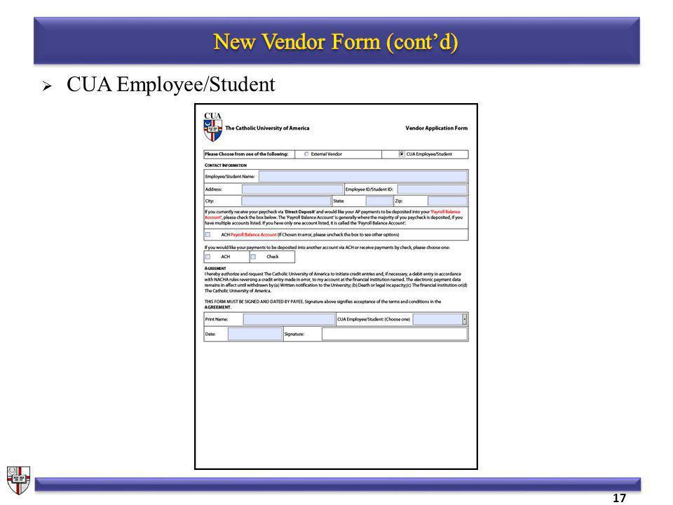 CUA Employee/Student 17