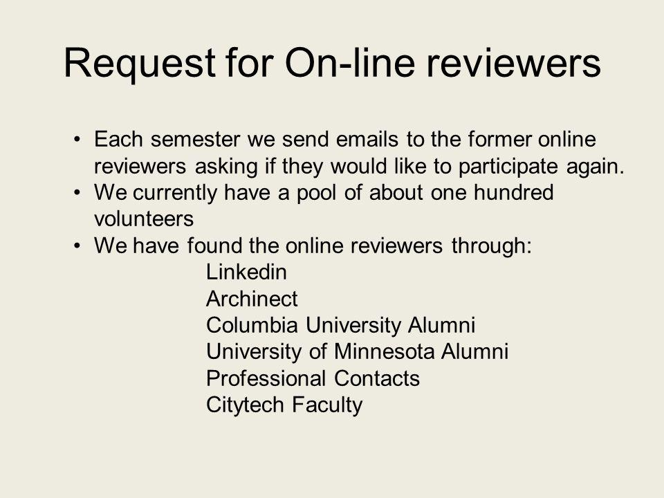 Request for On-line reviewers Each semester we send emails to the former online reviewers asking if they would like to participate again. We currently