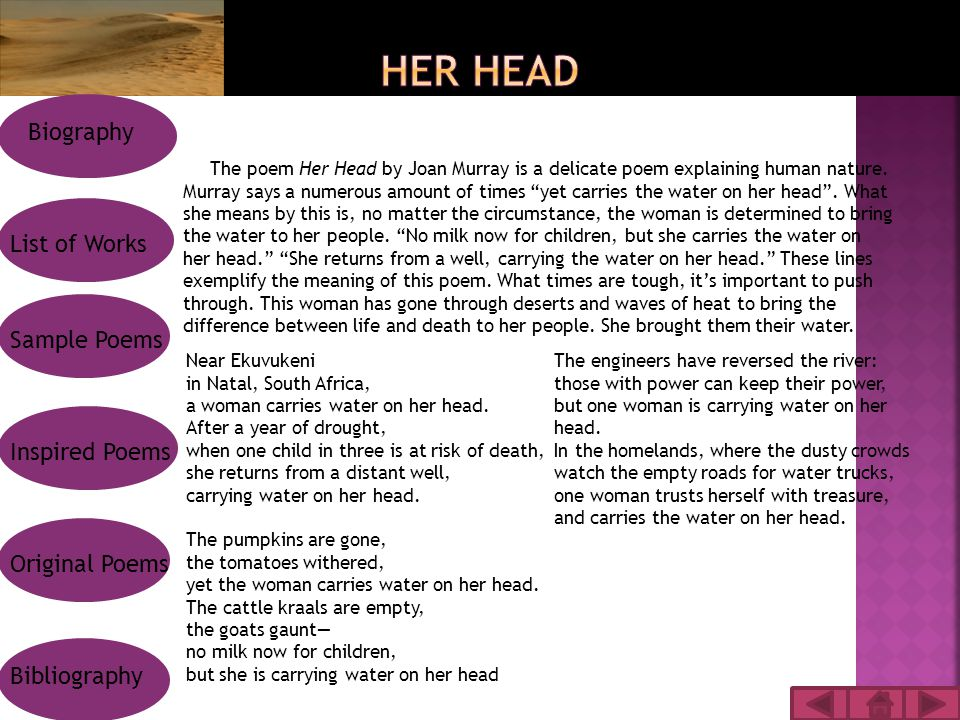 The poem Her Head by Joan Murray is a delicate poem explaining human nature.