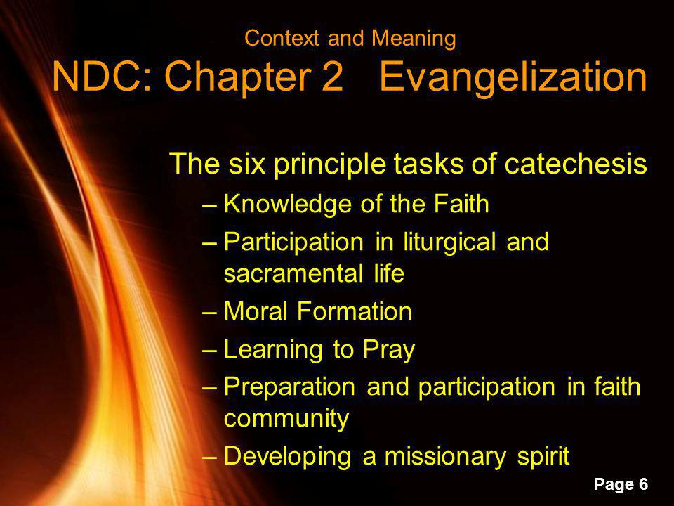 Powerpoint Templates Page 5 P R A Y National Directory for Catechesis, Chapter 5, Liturgical Catechesis Emphasizes various prayer forms –Communal –Pri