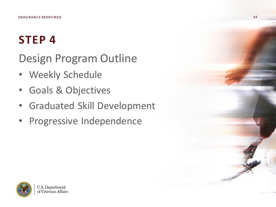 14 VA FACILITY NAME [MODIFY ON SLIDE MASTER] STEP 4 Design Program Outline Weekly Schedule Goals & Objectives Graduated Skill Development Progressive Independence ENDURANCE REDEFINED