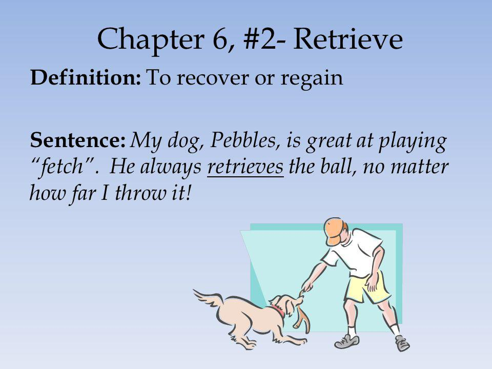 Chapter 6, #2- Retrieve Definition: To recover or regain Sentence: My dog, Pebbles, is great at playing fetch.