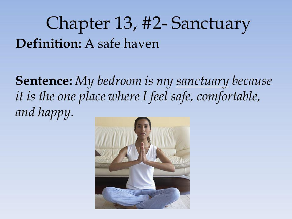 Chapter 13, #2- Sanctuary Definition: A safe haven Sentence: My bedroom is my sanctuary because it is the one place where I feel safe, comfortable, and happy.
