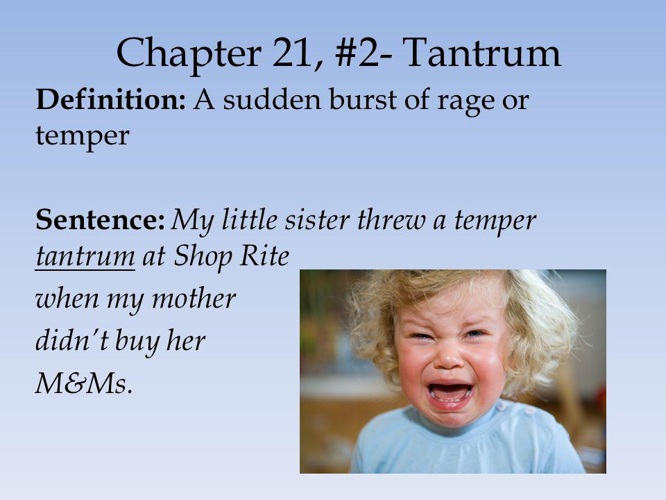 Chapter 21, #2- Tantrum Definition: A sudden burst of rage or temper Sentence: My little sister threw a temper tantrum at Shop Rite when my mother did