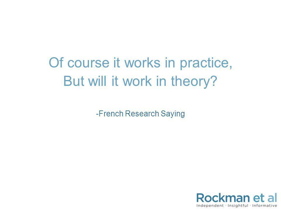 Of course it works in practice, But will it work in theory? -French Research Saying